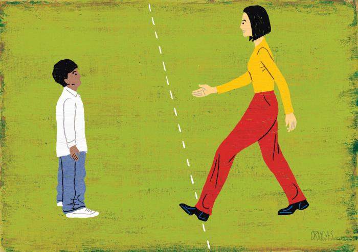 Teaching Tolerance illustration of a teacher crossing the line to meet her student