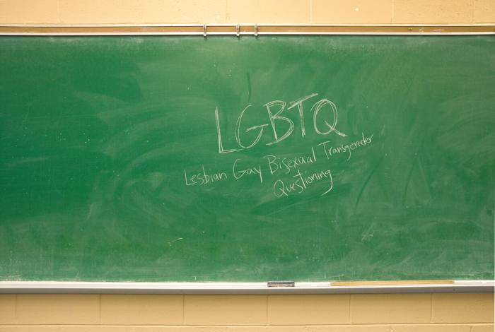 LGBTQ - Lesbian Gay Bisexual Transgender and Questioning wrote on chalkboard