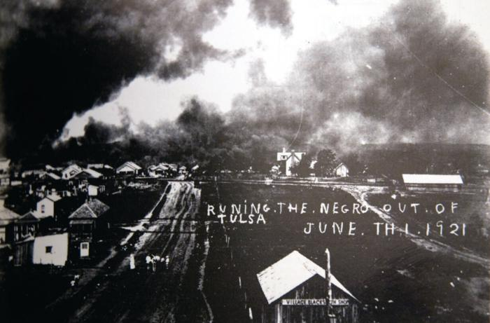 White mobs dropped dynamite bombs on the black community from five airplanes on Tulsa, Okla., June 1921