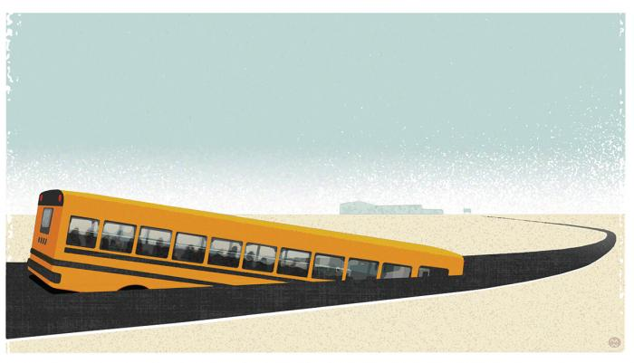 Illustration of a bus sinking into the road