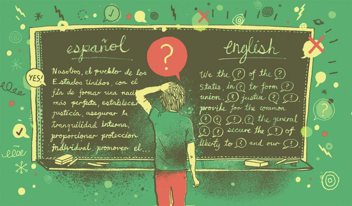 Illustration of student looking at preamble written in Spanish and English