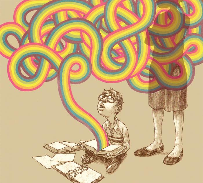 Rainbow squiggly lines come flowing from a child's book
