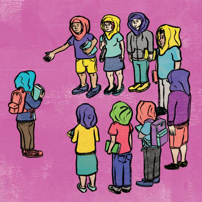 Illustration of students surrounding and embracing another while all wear traditional Muslim headwear