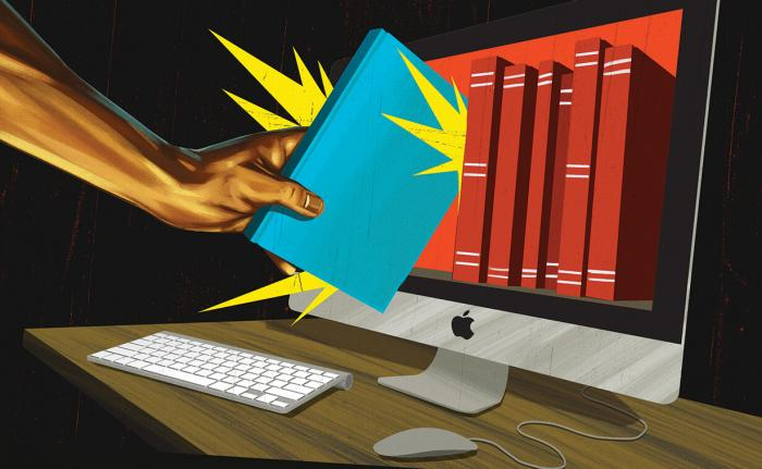 Illustration of hand jamming a book into a digital library on a computer screen