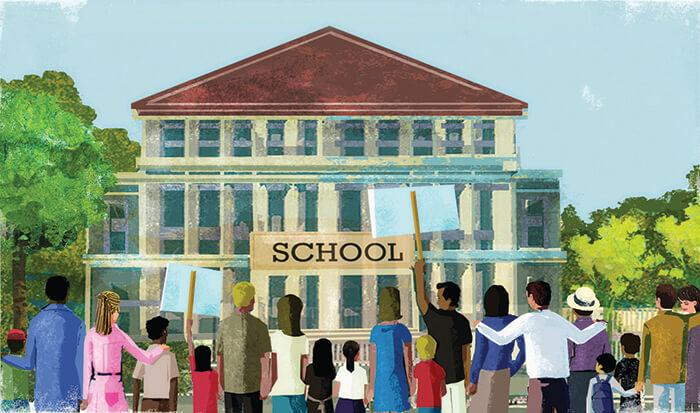 Teaching Tolerance illustration of students standing outside a school