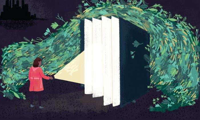 Illustration of girl shining a light into an open book.