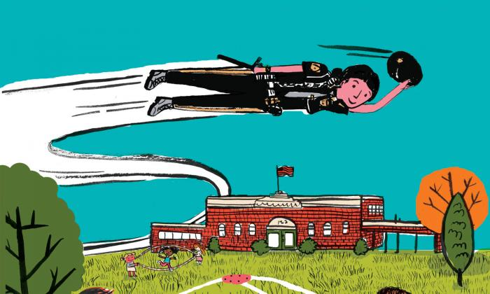 Illustration of girl or woman superhero flying over a school