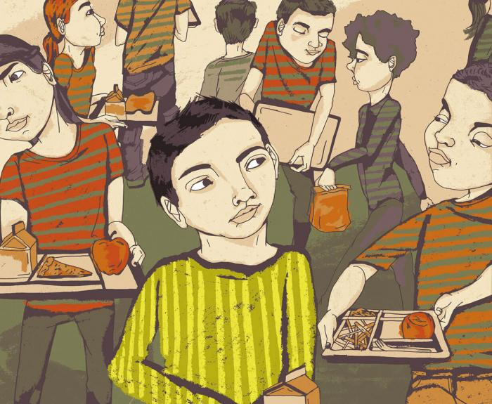 Illustration of a boy being approached in the lunch room