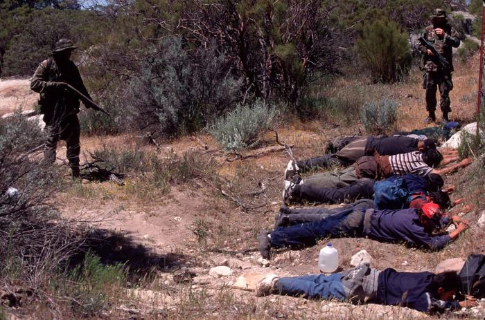 Armed civilians halt an illegal border crossing group