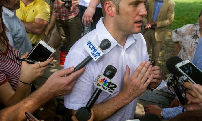 Richard Spencer speaks to the media in Charlottesville, Virginia.