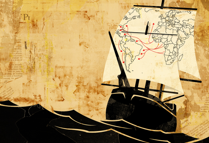 ship crossing the ocean with a map on the sail