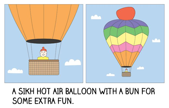 A Sikh hot air balloon with a bun for some extra fun.