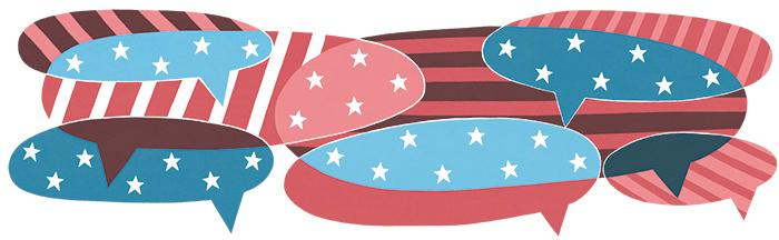 Speech bubbles filled with United States flag graphics.