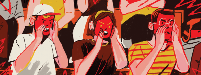Illustration of an angry, red-faced crowd shouting