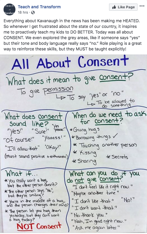 Facebook post screenshot from Teach and Transform focusing on consent.