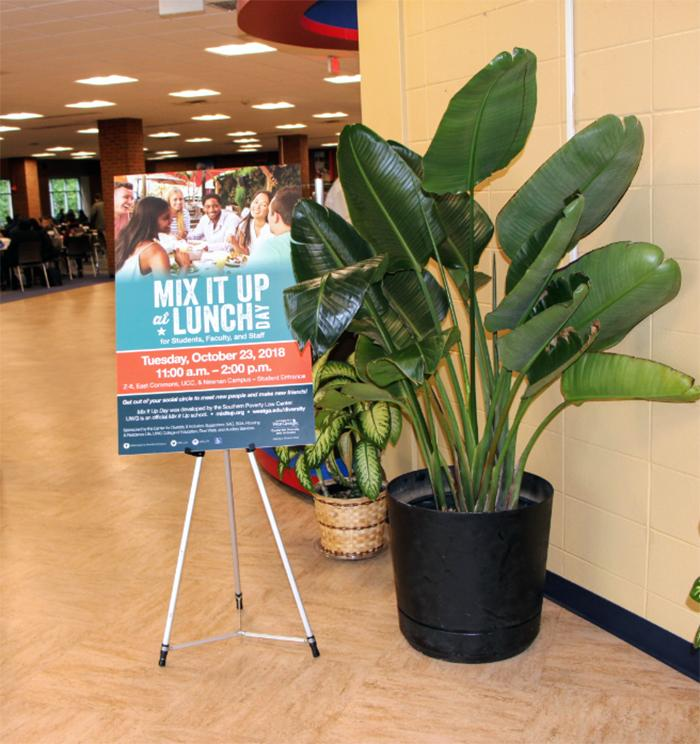 Sign welcoming college students at UWG to Mix It Up at Lunch Day.