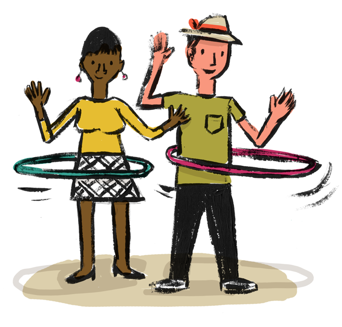 Illustration of two adult figures enjoying playing with hula hoops.