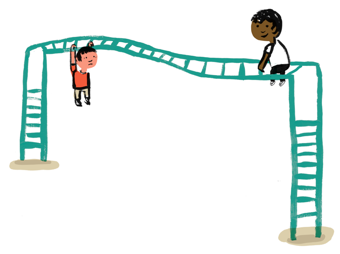 Illustration of two students climbing on monkey bars, one hanging and appearing alarmed and another sitting at the top and smiling.