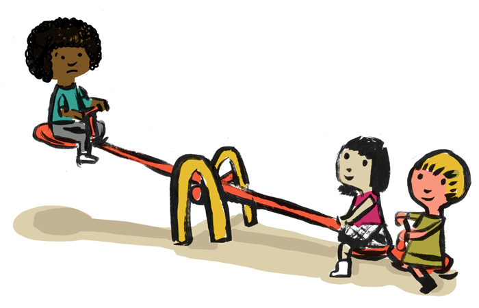 Illustration of a student of color on one end of a seesaw being lifted in the air by two other students on the opposite end.