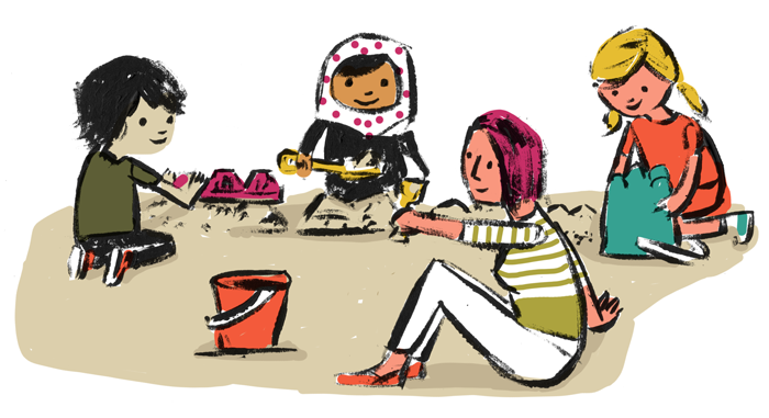 Illustration of a diverse group of students playing in the sand together with an adult figure.