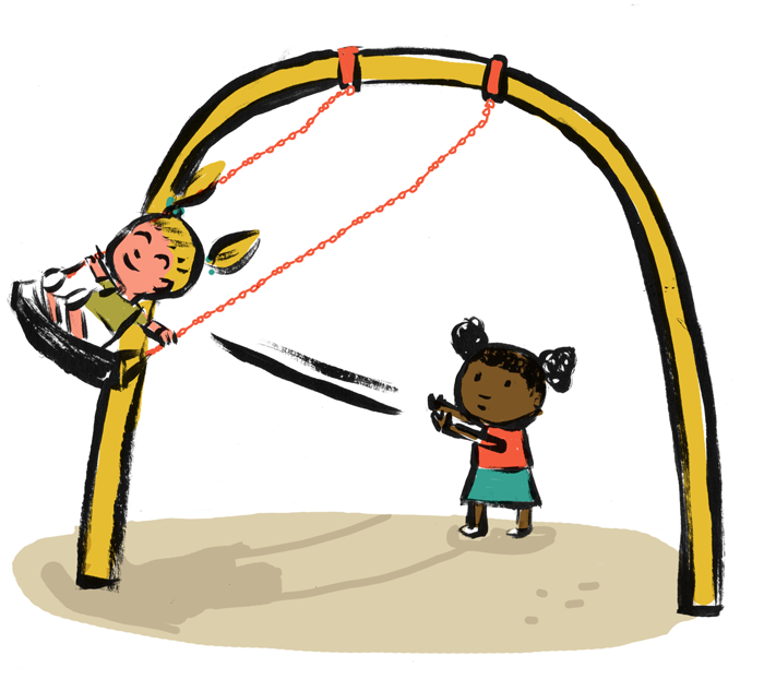 Illustration of a white student being pushed on the swing by a student of color.