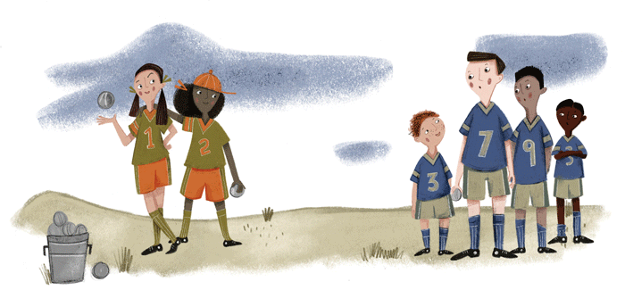 Illustration of kids in sports uniforms.