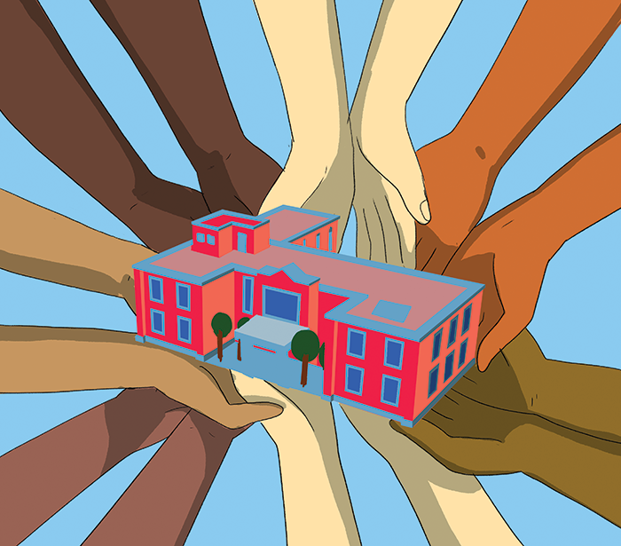 Illustration of a diverse set of hands holding up a stylized building.