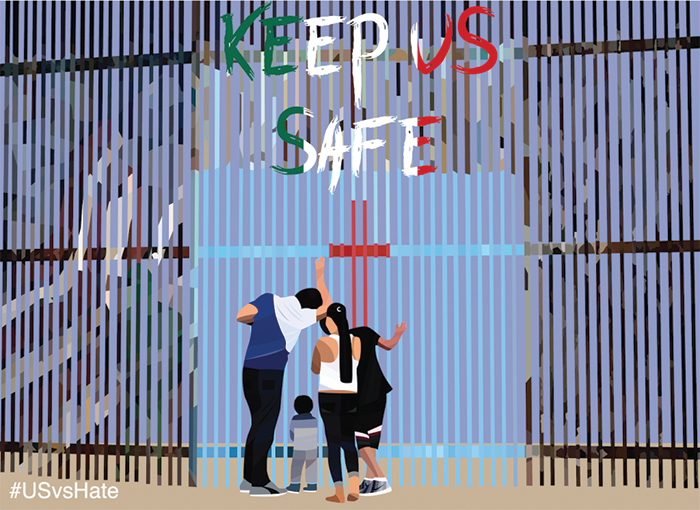 "Illustration of a family standing next to and looking through a tall, slatted fence. The words ""Keep Us Safe"" appear above them."