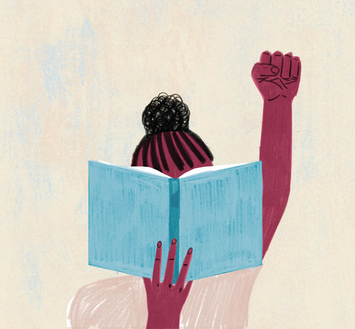 Illustration of a student of color holding a blue book in front of their face while holding up their closed fist.