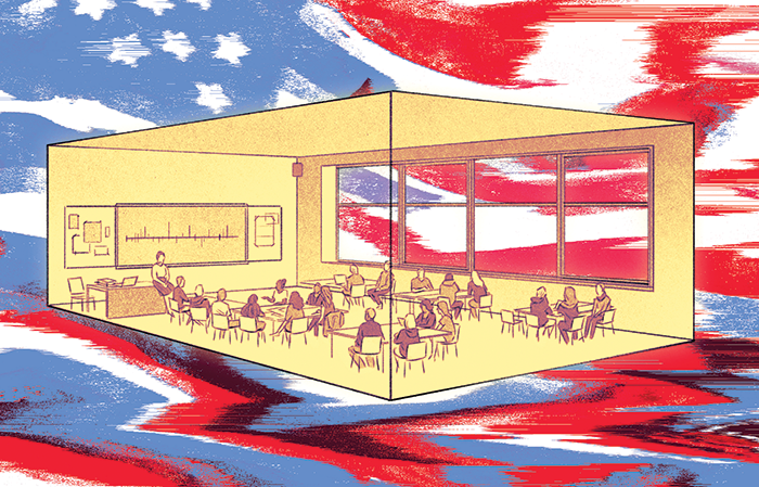 Illustration of a classroom with students and a teacher superimposed over a stylized United States flag.