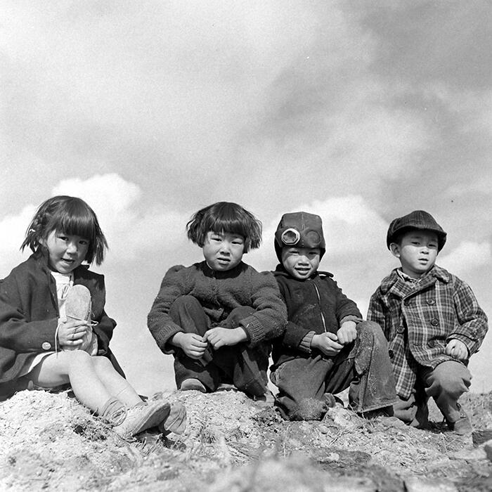 Four young children at a concentration camp in Tule Lake, California.