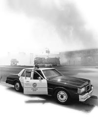 police car - smoke on the background