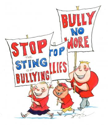 Teaching Tolerance illustration with Kids holding signs protesting against bullying
