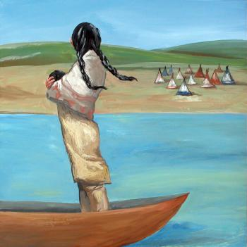 Native American observe her camp holding a baby from a canoe.