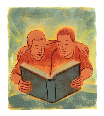 Teaching Tolerance illustration of two kids sharing a book