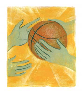 Teaching Tolerance illustration with 2 kids playing basketball