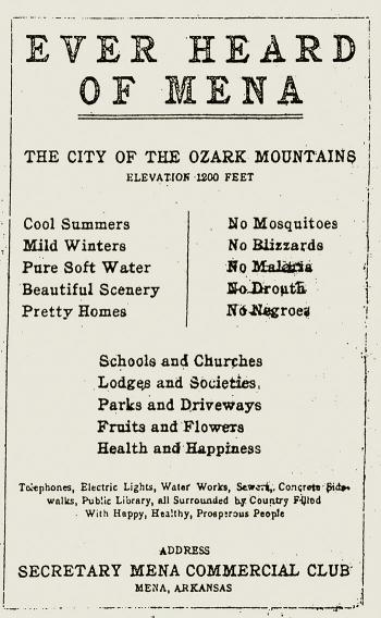 A 1920s promotional brochure for Mena, Ark.