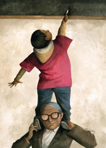 Teaching Tolerance illustration with a young student reaching a chalkboard on the shoulders of older man