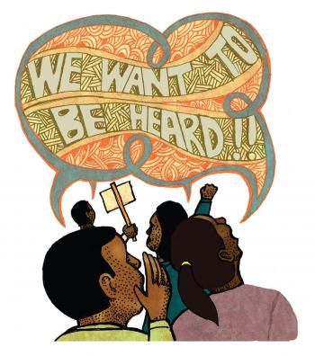 Teaching Tolerance illustration of students shooting 'We Want To Be Heard!!'