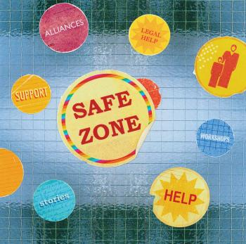 Teaching Tolerance illustration with Safe Zone sticker, help. allience, support, legal help