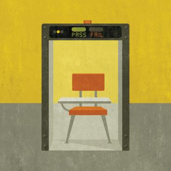 Illustration of a desk inside a metal detector