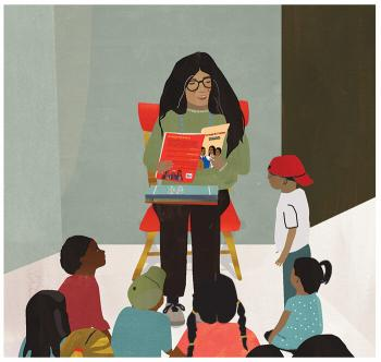 Illustration of a teacher reading a book to her students