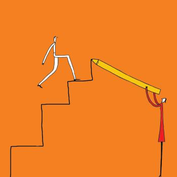 Illustration of someone going upstairs as another person draws more stairs