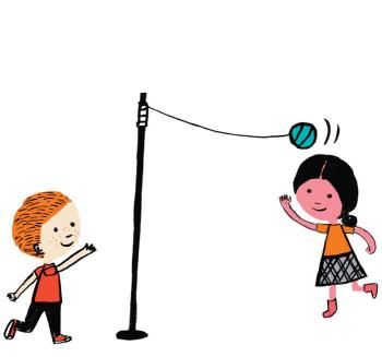 Illustration of children playing tetherball