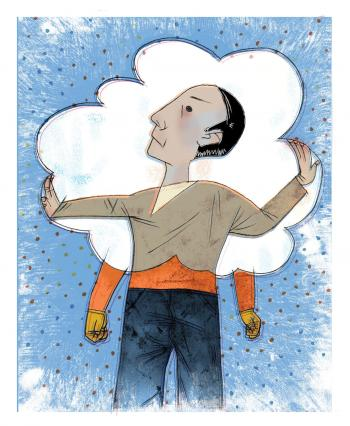Illustration of a man trying to escape the boundaries of a cloud