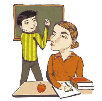 Illustration of a teacher looking over her shoulder as a boy works at the board