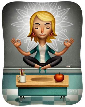 Illustration of a teacher floating above her desk in a yoga meditation pose