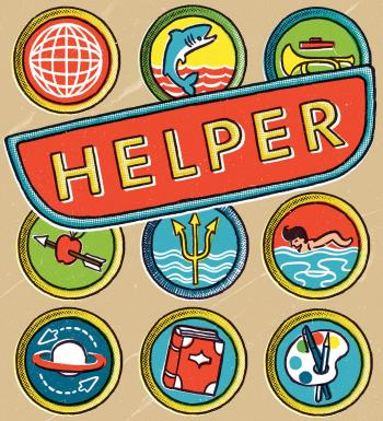 Illustration of helper badges or patches