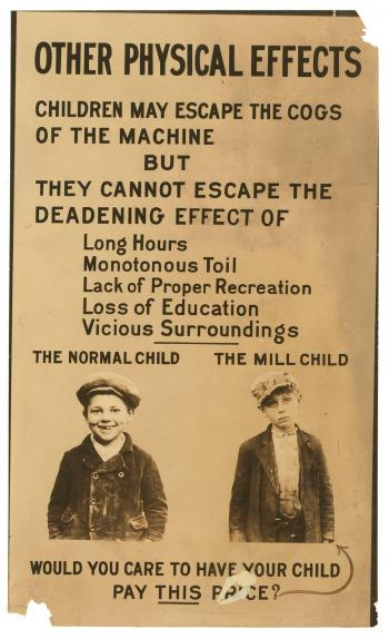 A flyer depicting the dangers of child labor