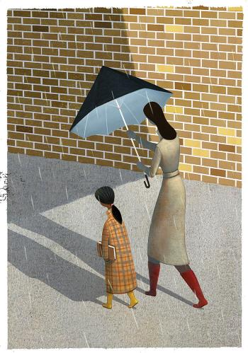 Illustration of a woman holding an umbrella over a girl's head